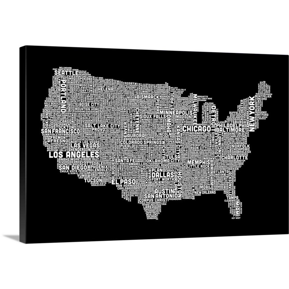 United States Map Canvas Wall Art.Great Big Canvas United States Cities Text Map Black And White By