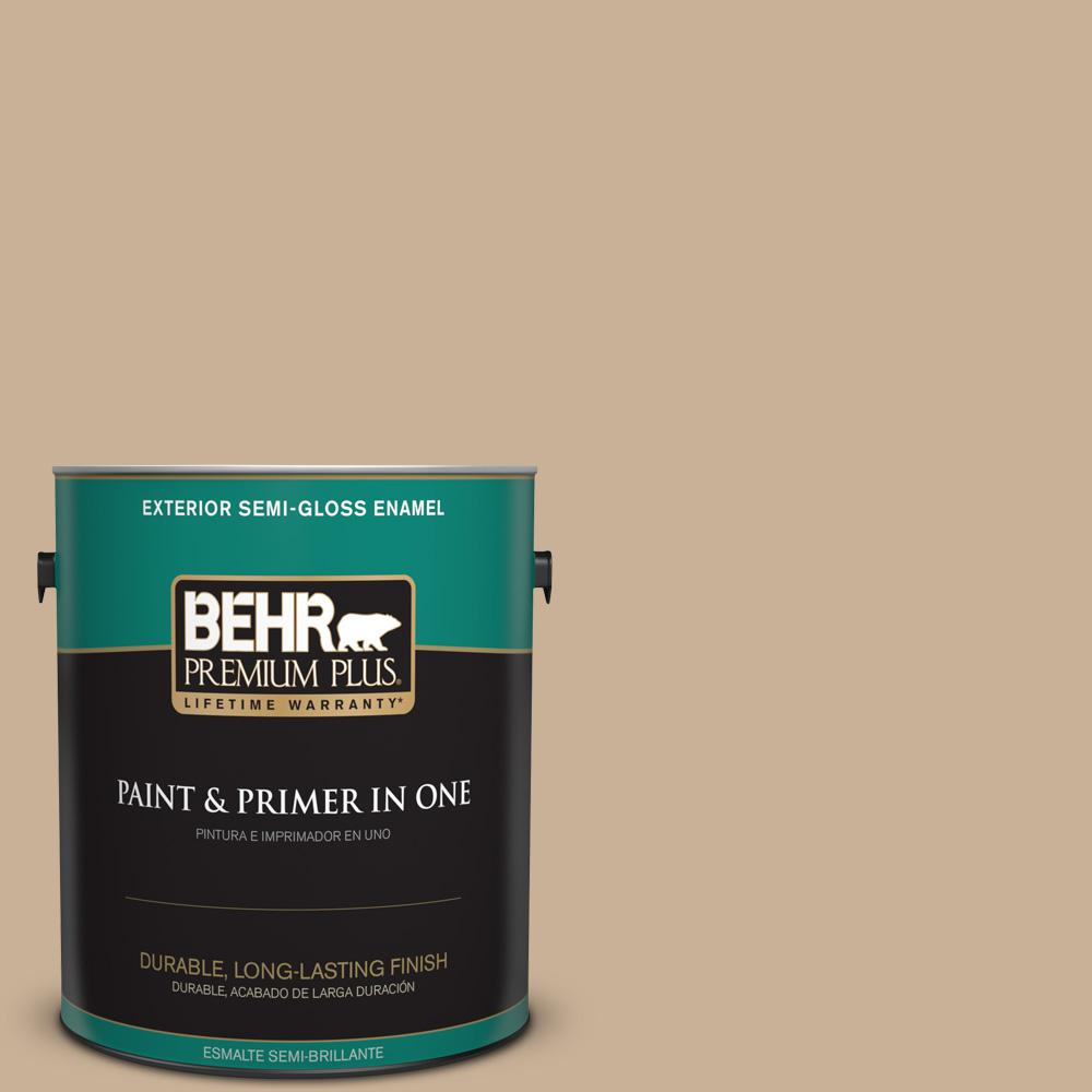 1 gal. #MQ2-46 Basswood Semi-Gloss Enamel Exterior Paint and Primer in