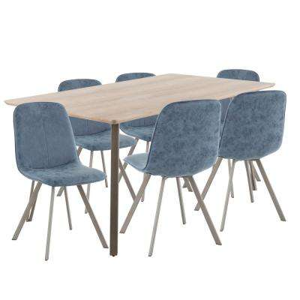 Sedona 7-Piece Antique Metal Light Brown Wood and Blue Fabric Dining Set