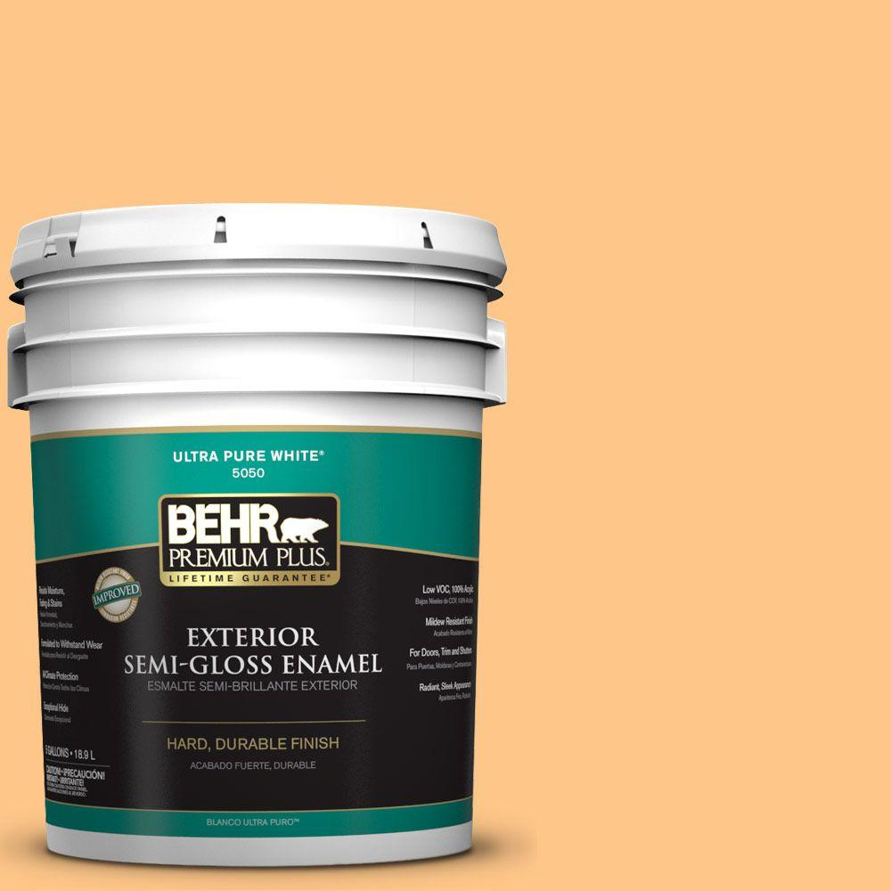 BEHR Premium Plus 5-gal. #P240-4 Mango Tango Semi-Gloss Enamel Exterior Paint