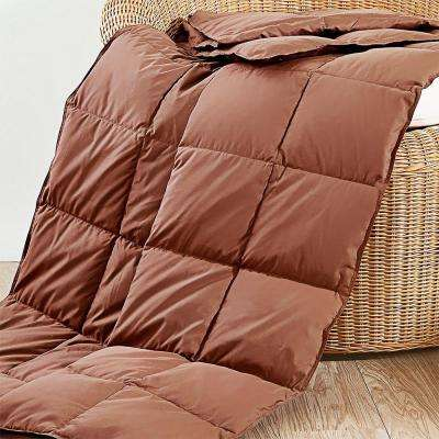 50 in. x 70 in. Chocolate Natural Down and Feather Throw