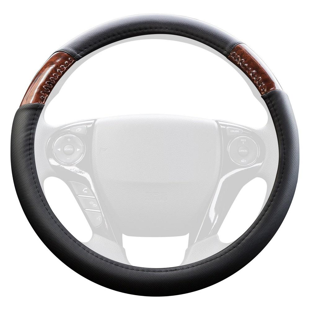 Oxgord Genuine Leather Steering Wheel Cover In Black With Brown Wood Grain Inserts