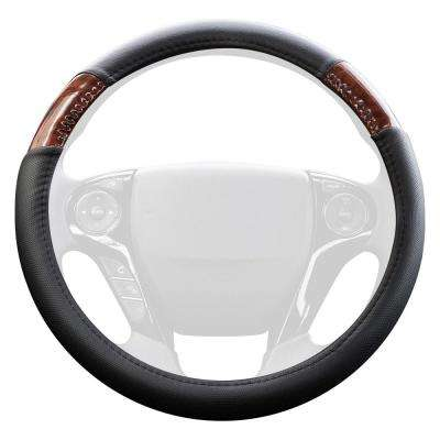 Genuine Leather Steering Wheel Cover in Black with Brown Wood Grain Inserts