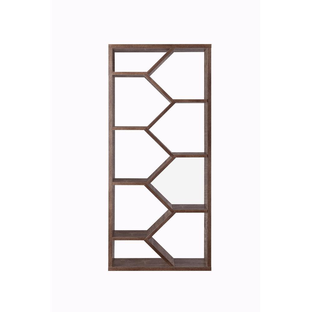 69 in. Walnut Oak Faux Wood 9-shelf Cube Bookcase with Geometric Design