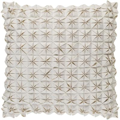 Capener White Solid Polyester 22 in. x 22 in. Throw Pillow