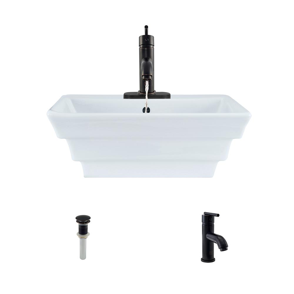 Porcelain Vessel Sink in White with 753 Faucet and Pop-Up Drain