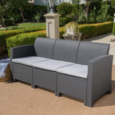 St. Paul Charcoal 1-Piece Wicker Outdoor Couch with Light Grey Cushions