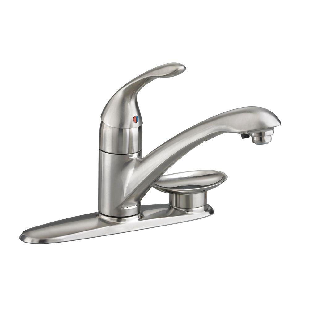 American Standard Streaming Single-Handle Kitchen Filter Faucet in Stainless Steel with Through Escutcheon Soap Dish