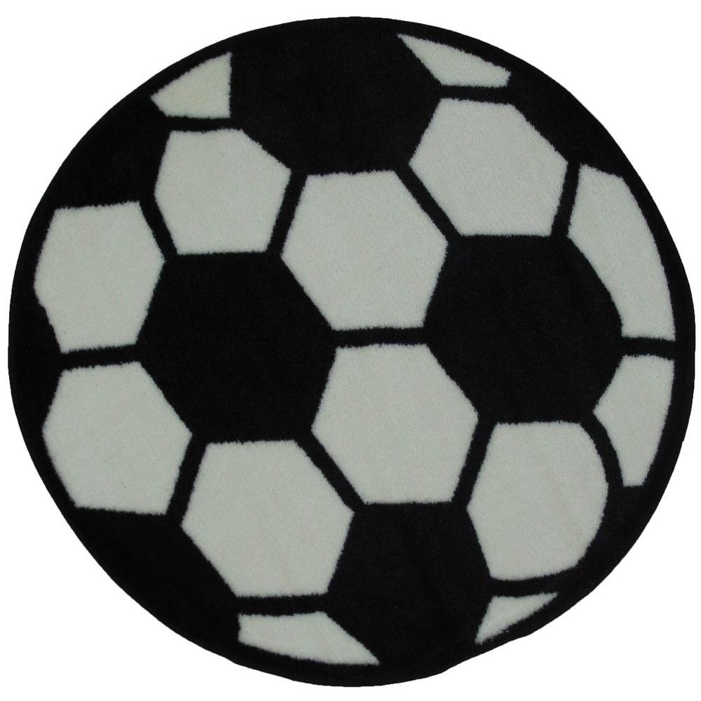LA Rug Fun Time Shape Soccerball Black and White 39 in. Round Area Rug
