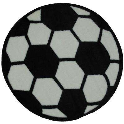 Fun Time Shape Soccerball Black and White 3 ft. Round Area Rug
