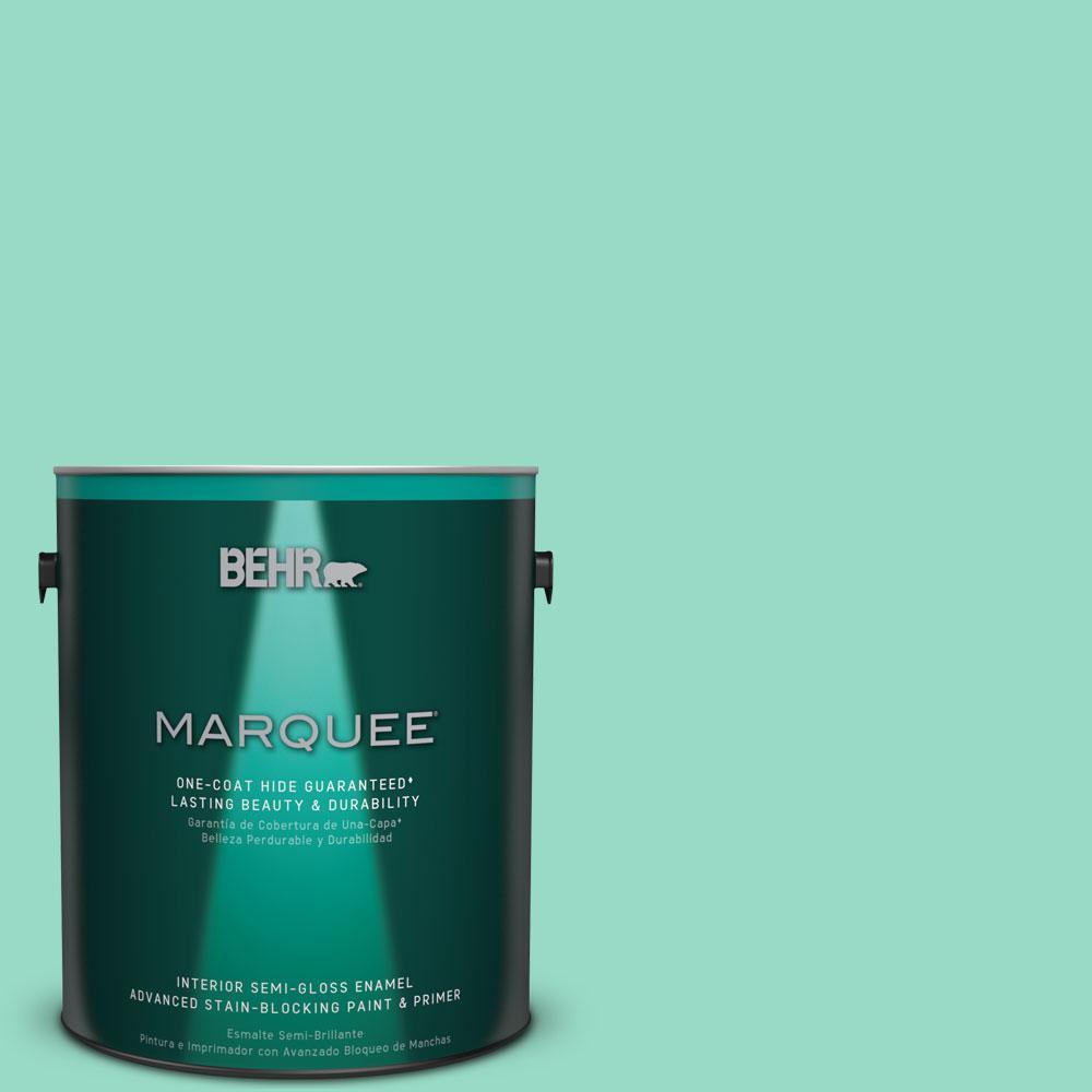 1 gal. #MQ4-17 Pageant Green One-Coat Hide Semi-Gloss Enamel Interior Paint