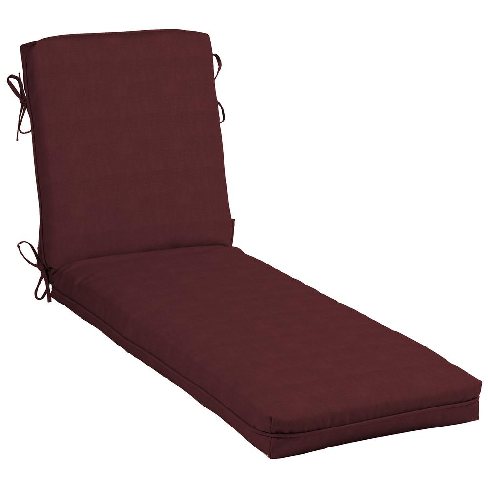 hampton bay cushionguard aubergine outdoor chaise lounge cushion