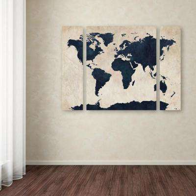 """30 in. x 41 in. """"World Map Navy"""" by Michael Tompsett Printed Canvas Wall Art"""