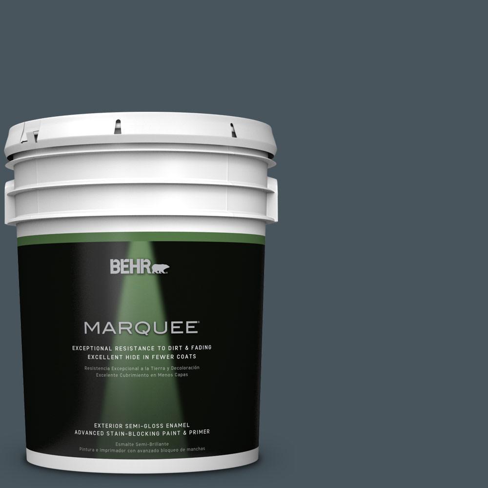 5-gal. #BNC-40 Moody Black Semi-Gloss Enamel Exterior Paint