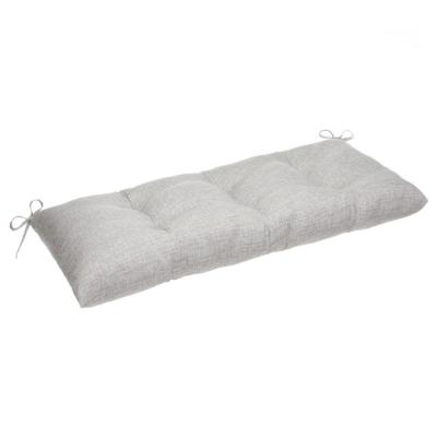 Portico 44 in. x 18.5 in. x 6 in. Outdoor Tufted Rectangular Loveseat Cushion in Grey