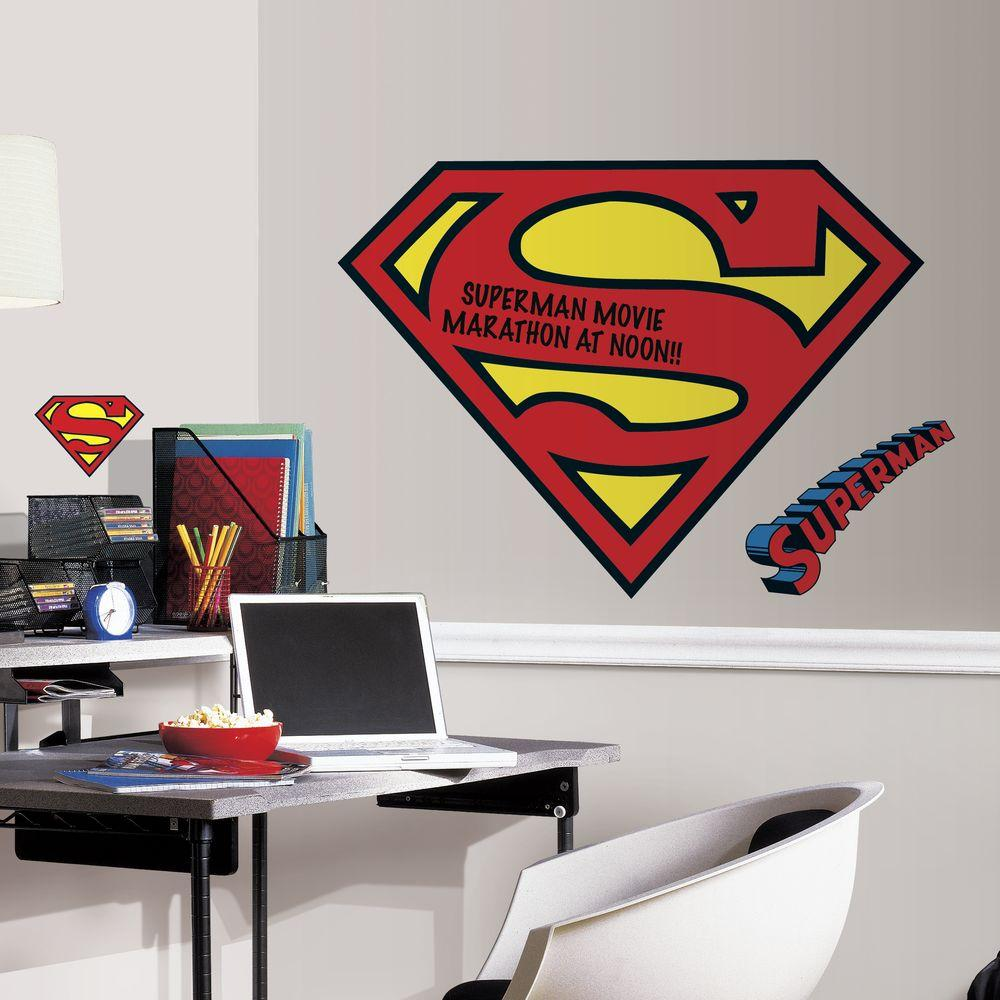 97376835202 RoomMates 5 in. x 19 in. Superman Logo Dry Erase Peel and Stick Giant