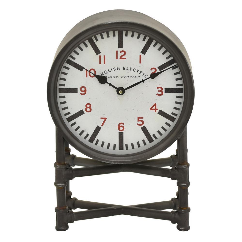 17.25 in. Black Round Metal Table Top Clock