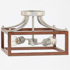 Boswell Quarter 12.5 in. 2-Light Galvanized Semi-Flush Mount with Painted Chestnut Wood Accents