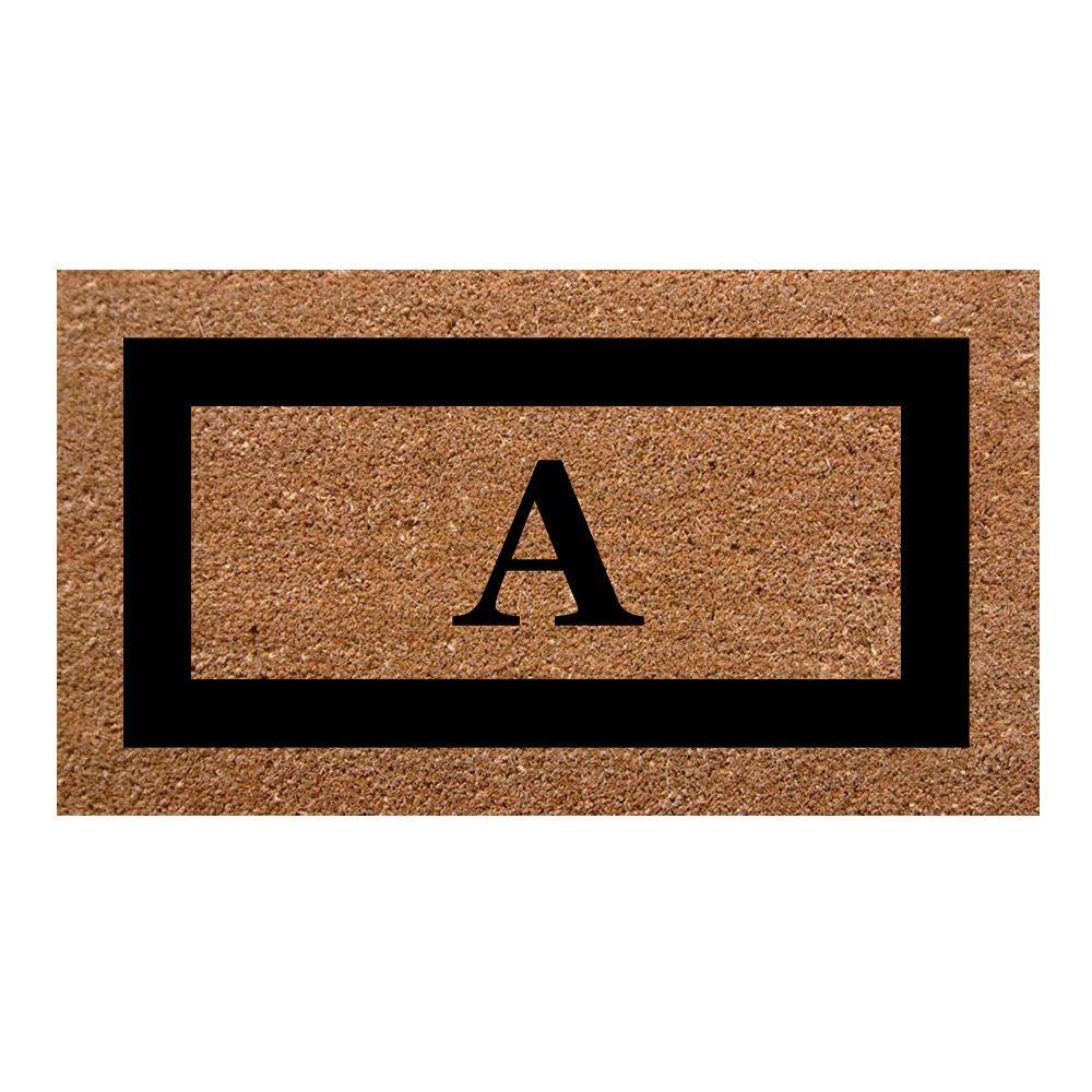 Single Picture Frame Black 20 in. x 36 in. SuperScraper Monogrammed A Door Mat