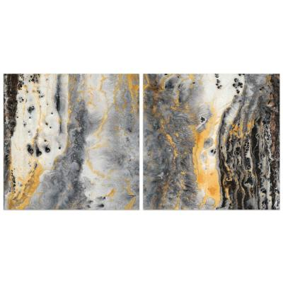 """""""Bands of Gold"""" Abstract Wall Art Printed on Frameless Free Floating Tempered Glass Panel"""