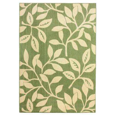 Floral Reversible Cream Green Flat Woven Weave 5 Ft X 7 Ft Indoor Outdoor Area Rug
