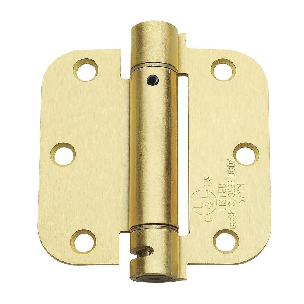 Global Door Controls 3.5 in. x 3.5 in. Satin Brass Steel Spring Hinge with 5/8 in. Radius (Set of 2)
