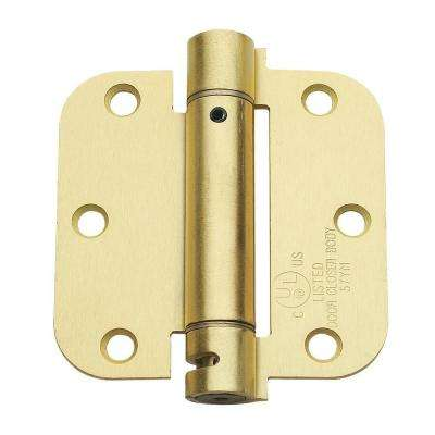 3.5 in. x 3.5 in. Satin Brass Steel Spring Hinge with 5/8 in. Radius (Set of 2)