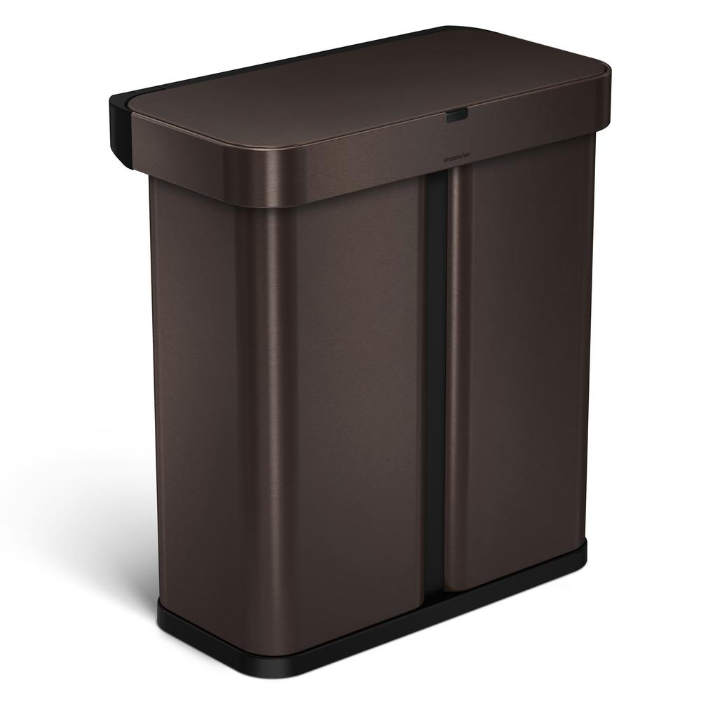 simplehuman 15 3 gal dark bronze steel dual compartment rectangular sensor recycling trash can. Black Bedroom Furniture Sets. Home Design Ideas