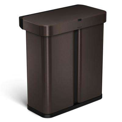 15.3 Gal. Dark Bronze Steel Dual Compartment Rectangular Sensor Recycling Trash Can with Voice and Motion Control