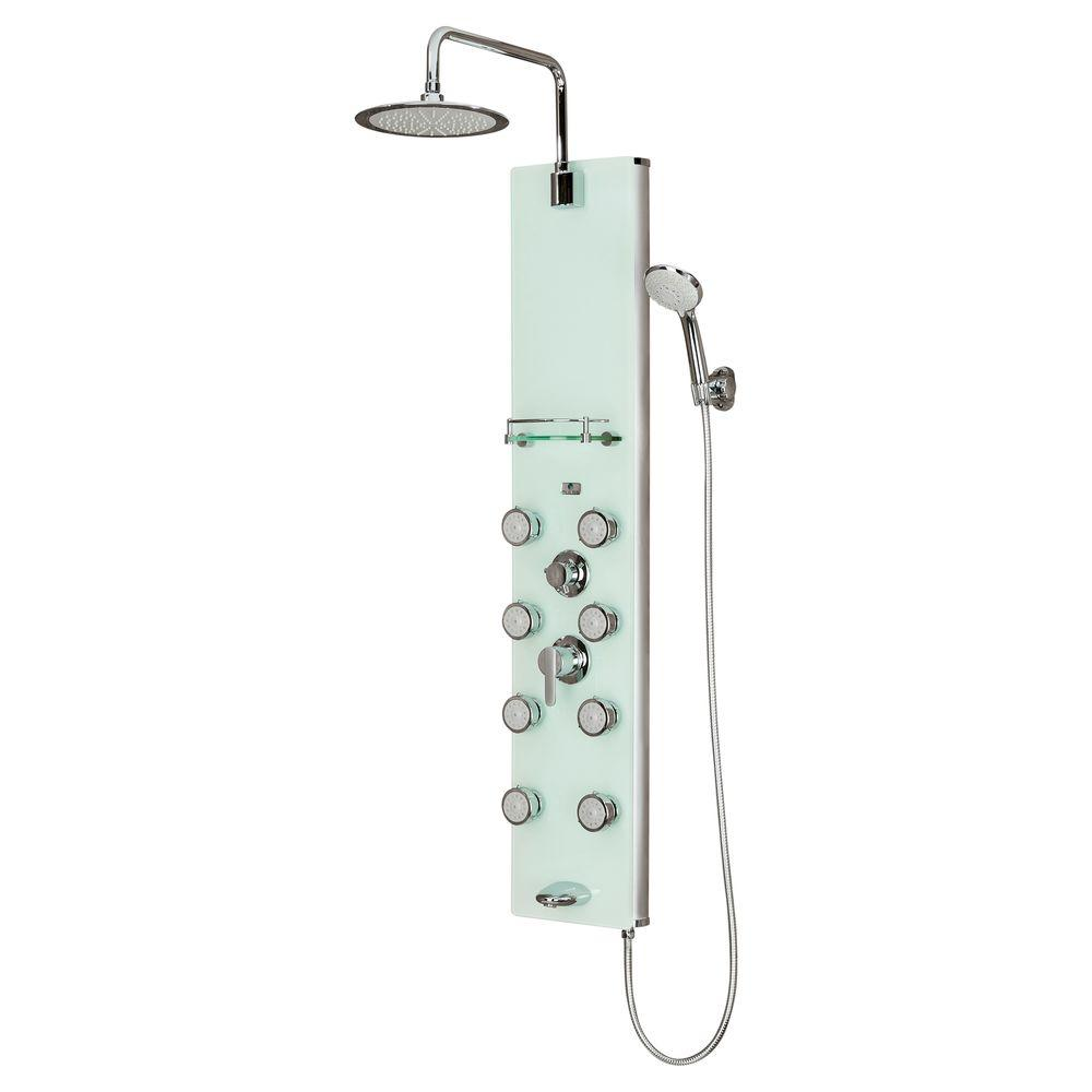 Pulse Showerspas Lahaina 8 Jet Shower System With Glass Panel In Chrome 1030 The Home Depot