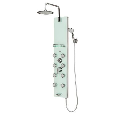 Lahaina 8-Jet Shower System with Glass Panel in Chrome