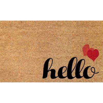 Aspen Hello Hearts 18 in. x 30 in. Door Mat
