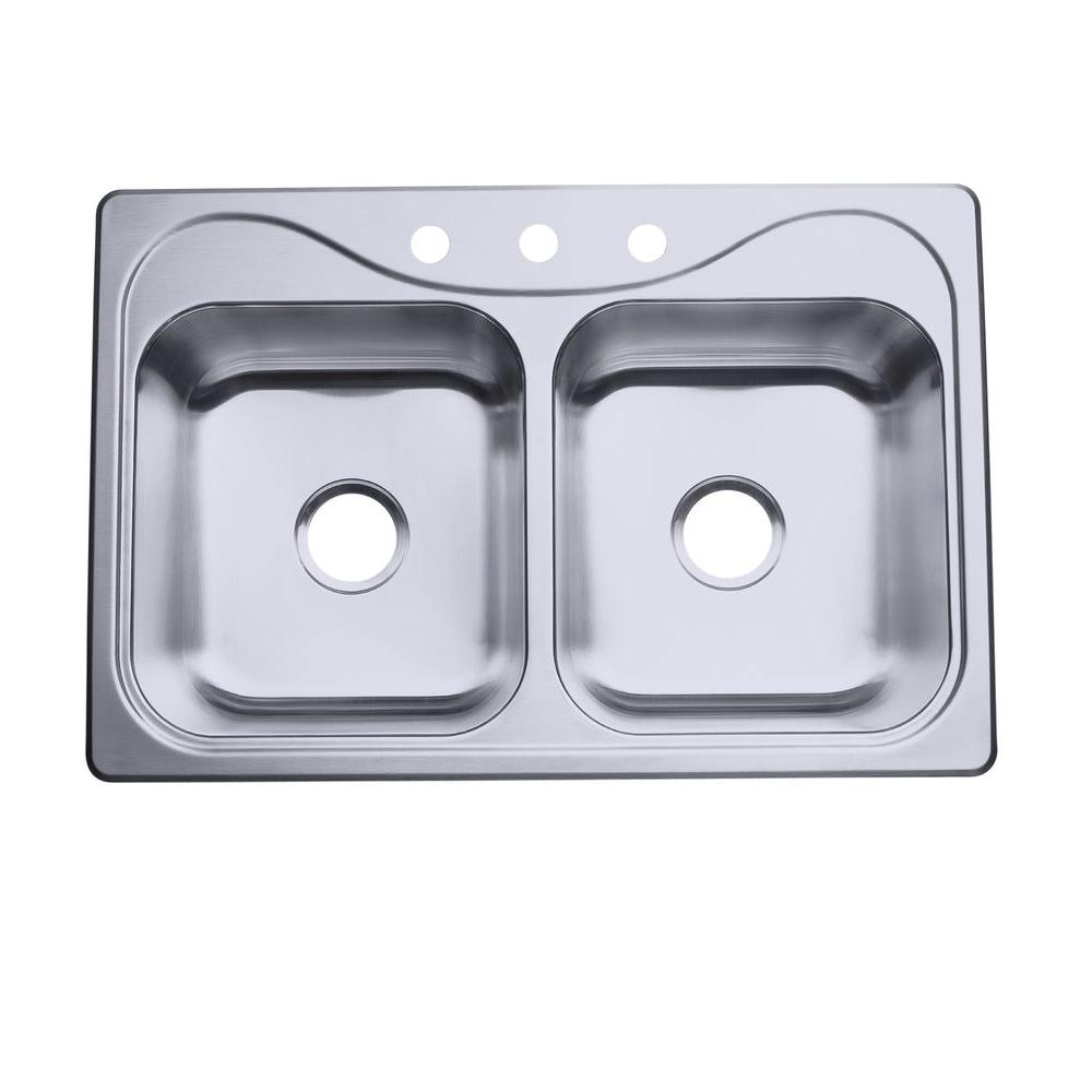 STERLING Southhaven Drop-in Stainless Steel 32.5 in. 3-Hole Double Basin  Kitchen Sink