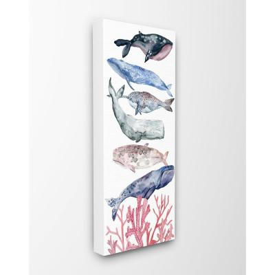"""13 in. x 30 in. """"Whale Wildlife Ocean Coral Watercolor Illustrations""""by Artist Melissa Wang Canvas Wall Art"""