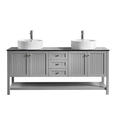 Modena 72 in. W x 20 in. D Vanity in Grey with Glass Vanity Top in Black with White Basin