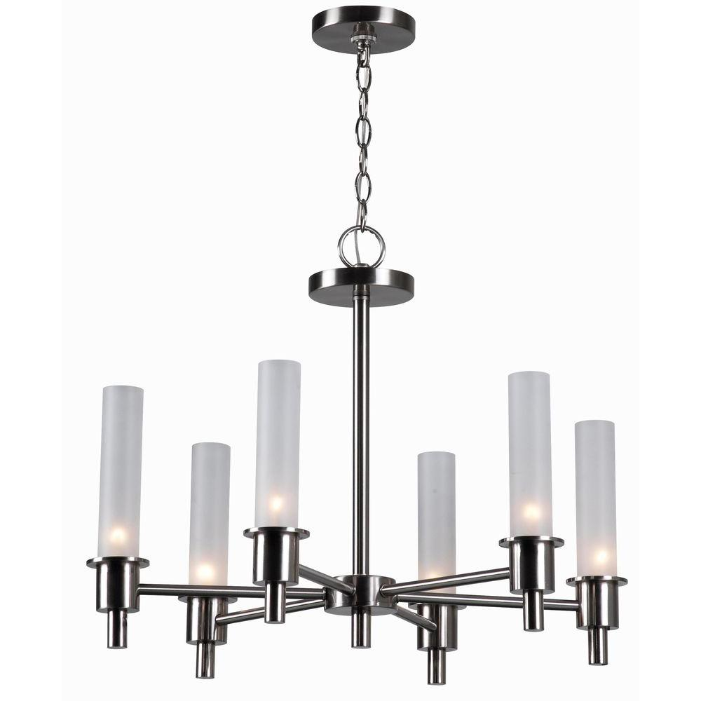 World imports dunwoody 6 light satin nickel chandelier with world imports dunwoody 6 light satin nickel chandelier with cylinder frosted glass shades wi687302 the home depot arubaitofo Image collections