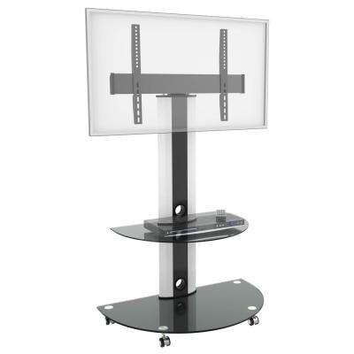 Superior TV Cart with Glossy Glass Base and AV Component Shelf