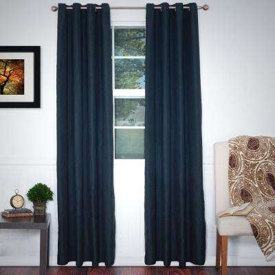Black Polyester Grommet Curtain - 56 in. W x 84 in. L (1 Pair)