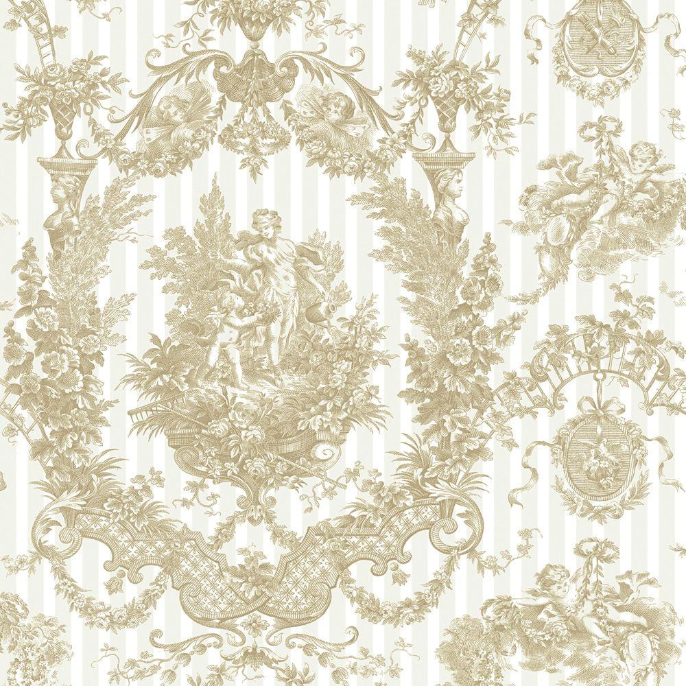 The Wallpaper Company 56 sq. ft. Biscuit Cherub Damask Wallpaper