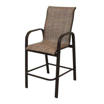 Marco Island Dark Cafe Brown Commercial Grade Aluminum Bar Height Outdoor Patio Dining Chair with Chesterfield Sling
