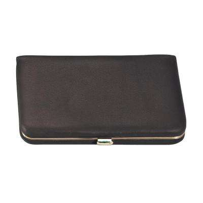 Genuine Leather Framed Business Card Case Wallet, Black