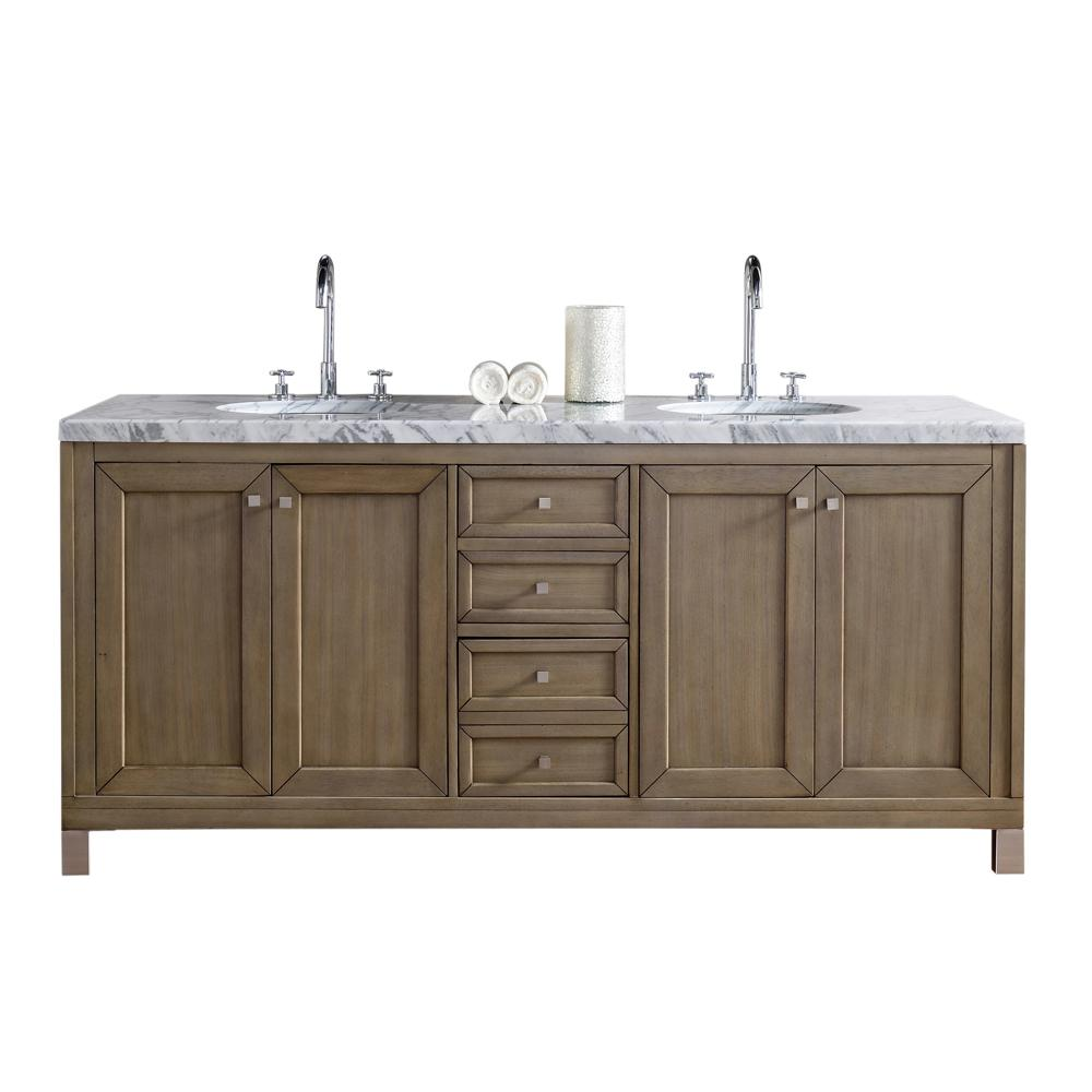 Chicago 72 in. W Double Vanity in Whitewashed Walnut with Marble
