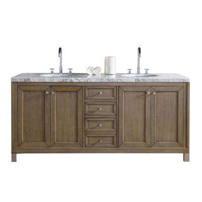 Chicago 72 in. W Double Vanity in Whitewashed Walnut with Marble Vanity Top in Carrara White with White Basin