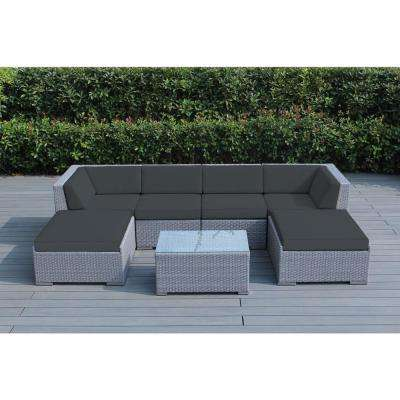 Ohana Gray 7-Piece Wicker Patio Seating Set with Sunbrella Coal Cushions