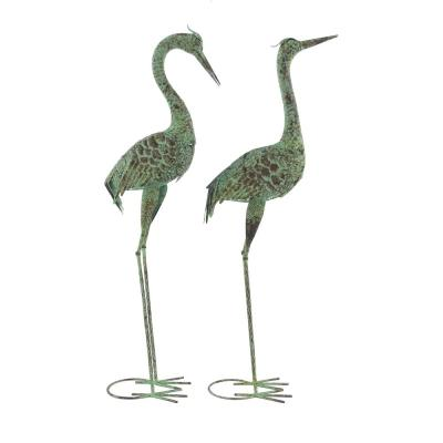 """40""""H and 39"""" Inch Tall Green Metal Crane Garden Statues, Set of 2"""