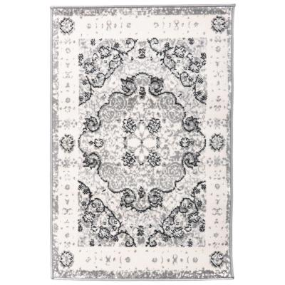 Traditional Distressed Medallion 2 ft. x 3 ft. Gray Area Rug