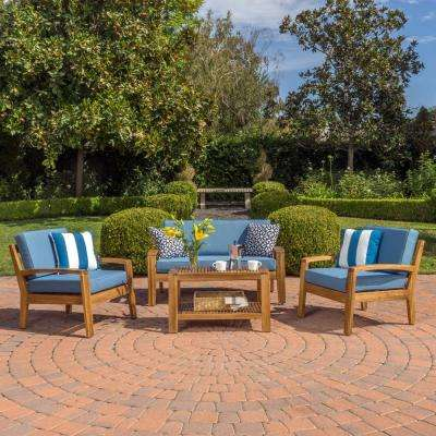 Grenada Teak Finish 4-Piece Wood Patio Conversation Set with Blue Cushions
