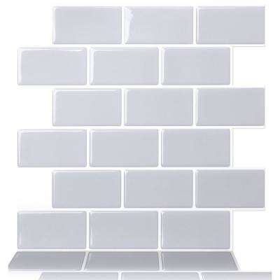 Subway Gray 12 in. W x 12 in. H Peel and Stick Decorative Mosaic Wall Tile Backsplash (10-Tiles)