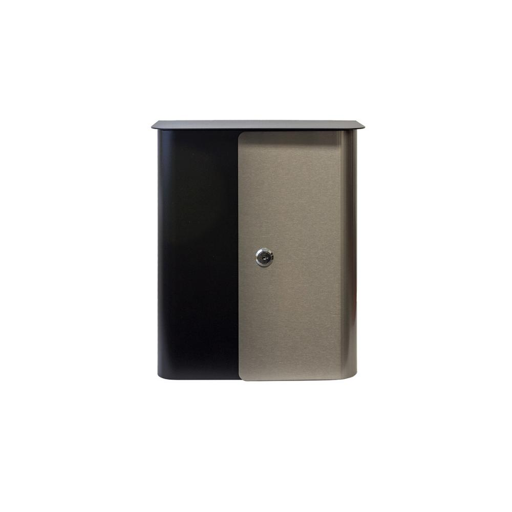 Vista In Black Wall Mounted With Stainless Steel Locking Mailbox