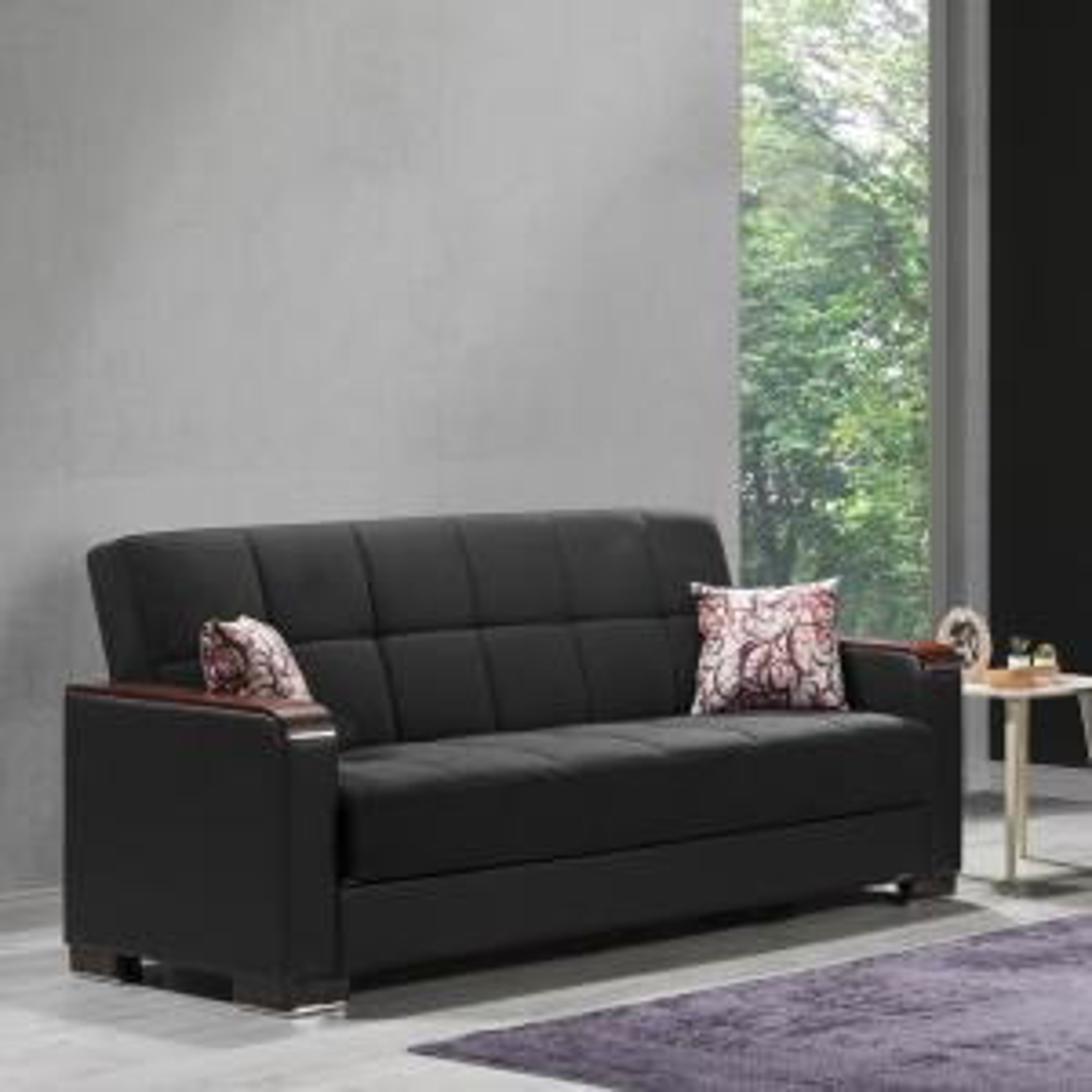 Fine Ottomanson Armada Black Wooden Armed Sofa Sleeper Bed With Lamtechconsult Wood Chair Design Ideas Lamtechconsultcom
